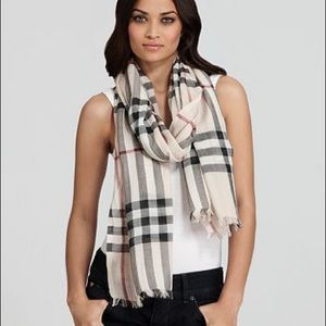 Burberry silk and wool light large check scarf